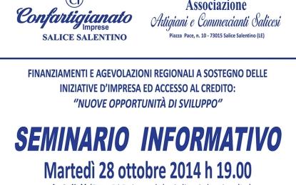 'Finanziamenti e agevolazioni regionali a sostegno delle iniziative d'impresa ed accesso al credito', domani a Salice il convegno