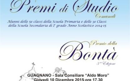 Giovedí nella Sala Consiliare di Guagnano si consegnano i Premi Studio Comunali e il Premio della Bontà
