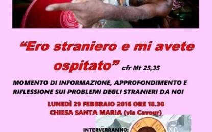 """""""Ero straniero e mi avete ospitato"""", domani alle 18.30 nella Chiesa S. Maria di Salice un incontro sugli stranieri immigrati in Italia"""