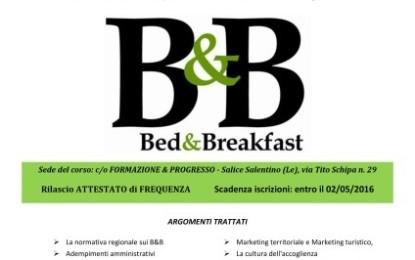 """A Salice un corso di formazione per """"esperto in avvio e gestione di B&B in forma imprenditoriale"""""""
