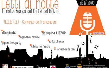 """""""Letti di Notte"""", il 18 giugno a Veglie torna la notte bianca dei libri e dei lettori"""