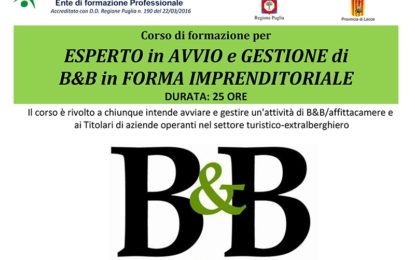 Formazione&Progresso organizza a Salice un corso per esperto in avvio e gestione di B&B