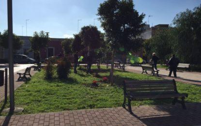Nel giorno della Festa dell'Albero gli alunni della scuola di Via Valente interrano delle piantine nei giardini del Convento