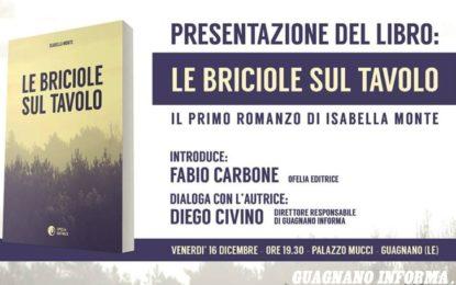 """Venerdì a Palazzo Mucci Isabella Monte presenta il suo romanzo """"Le Briciole sul Tavolo"""""""