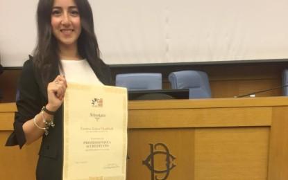 """Alla guagnanese Fatima Chaddadi il riconoscimento di """"Professionista accreditato presso la fondazione Italia-Usa"""". Lo ha ritirato oggi alla Camera dei Deputati"""