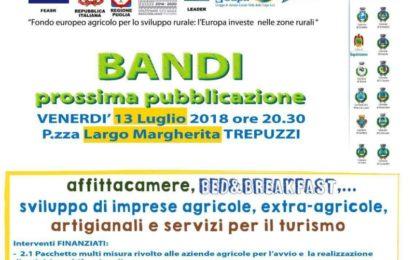 Venerdì il Gal Valle della Cupa presenta a Trepuzzi i bandi per lo sviluppo del turismo, dei servizi e delle imprese agricole