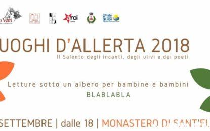 """Luoghi d'Allerta, domenica """"Letture sotto un albero"""" al Monastero di Sant' Elia di Trepuzzi"""