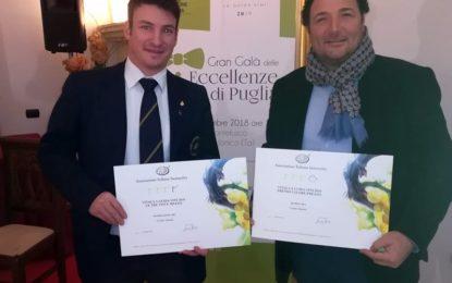 Patriglione e Kompà della Cantina Cosimo Taurino premiati in occasione del Gran Galà delle eccellenze di Puglia
