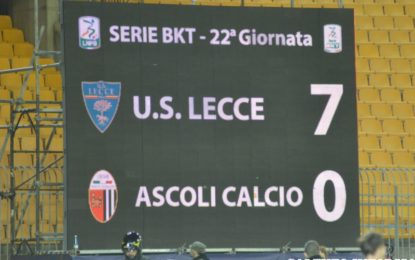 US Lecce, i giallorossi vincono per 7 a 0 contro l'Ascoli e si portano al terzo posto