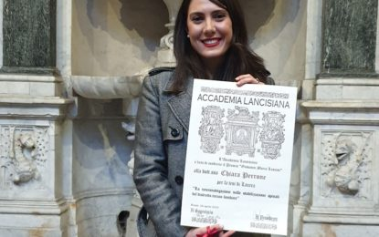 """Roma, """"Premio Giovanni Maria Lancisi"""": alla trepuzzina Chiara Perrone una delle cinque onorificenza assegnate"""