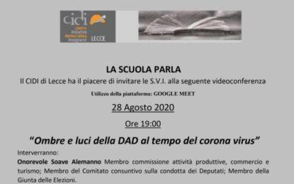 """""""Ombre e luci della DAD al tempo del corona virus"""", il 28 agosto la videoconferenza"""